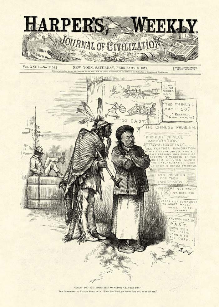 In A Thomas Nast Cartoon From 1879 An Indian Warns A Chinese