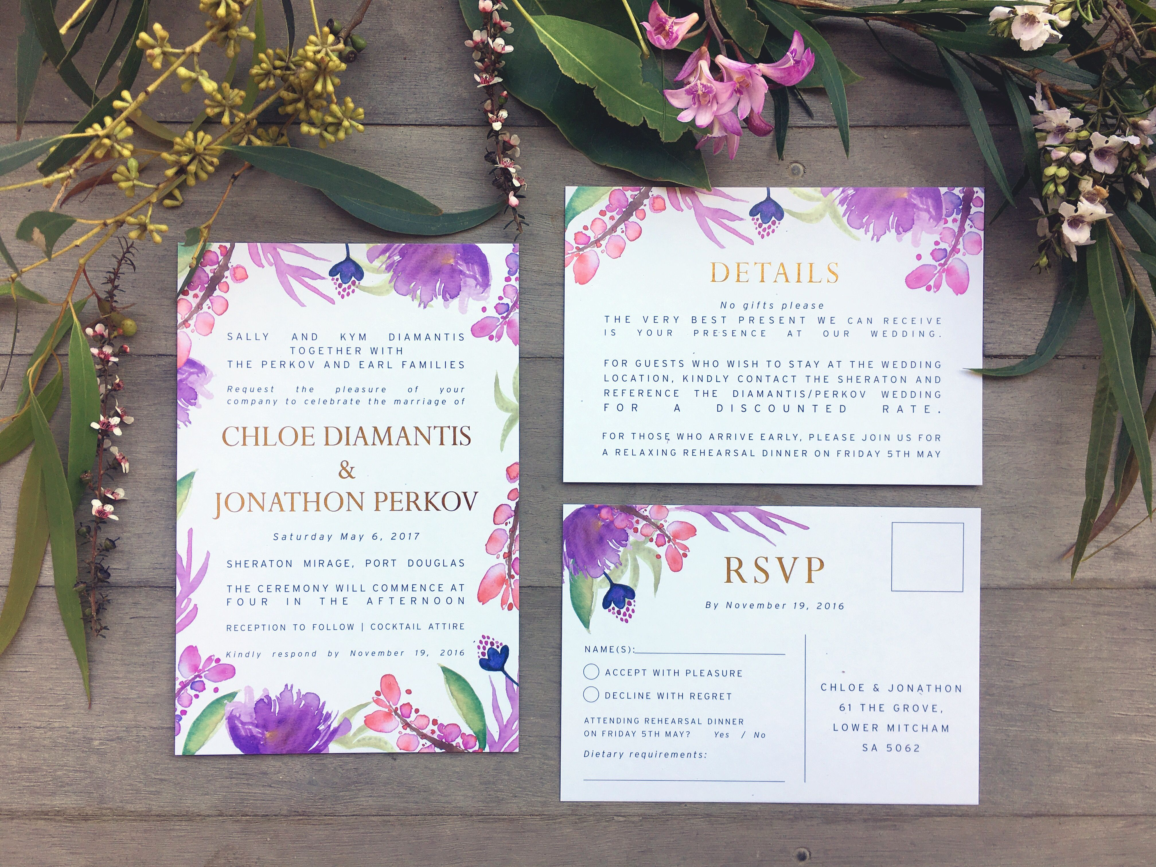 destination wedding invitation rsvp date%0A Tropical purple island destination Hawaii Bali Fiji bora bora Maui  Queensland port Douglas gold foil RSVP