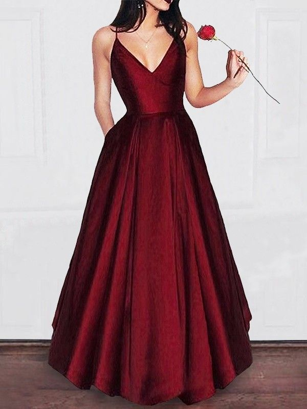 2d39016914f A-Line V-neck Floor-Length Satin Sleeveless With Ruffles Dresses - Promlily  Online
