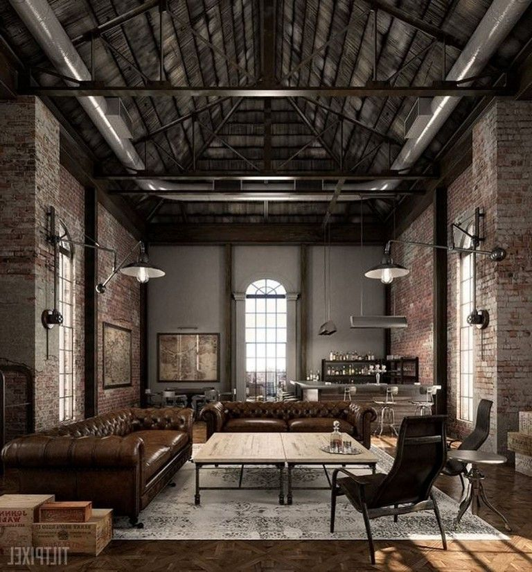 40 Cozy Industrial Living Room Decor Ideas Livingroom Livingroomideas Livingroomdecorations Loft Design Loft Living Interior Architecture Design