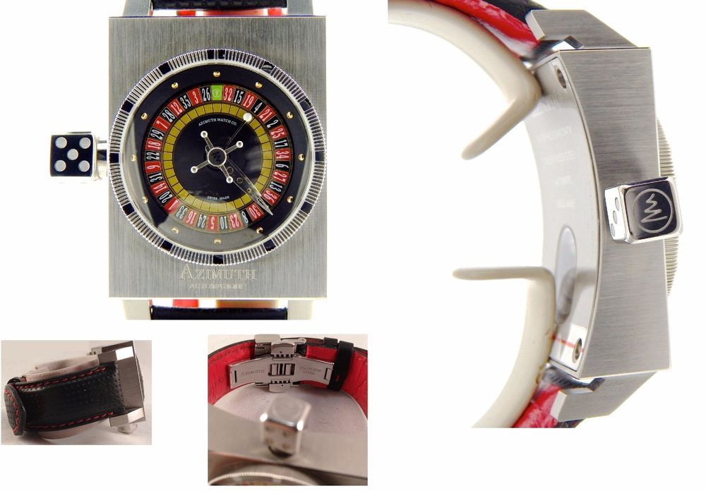 Orolog Azimuth SP-1 Roulette KING CASINO Automatico Watch w/Black & Red Strap