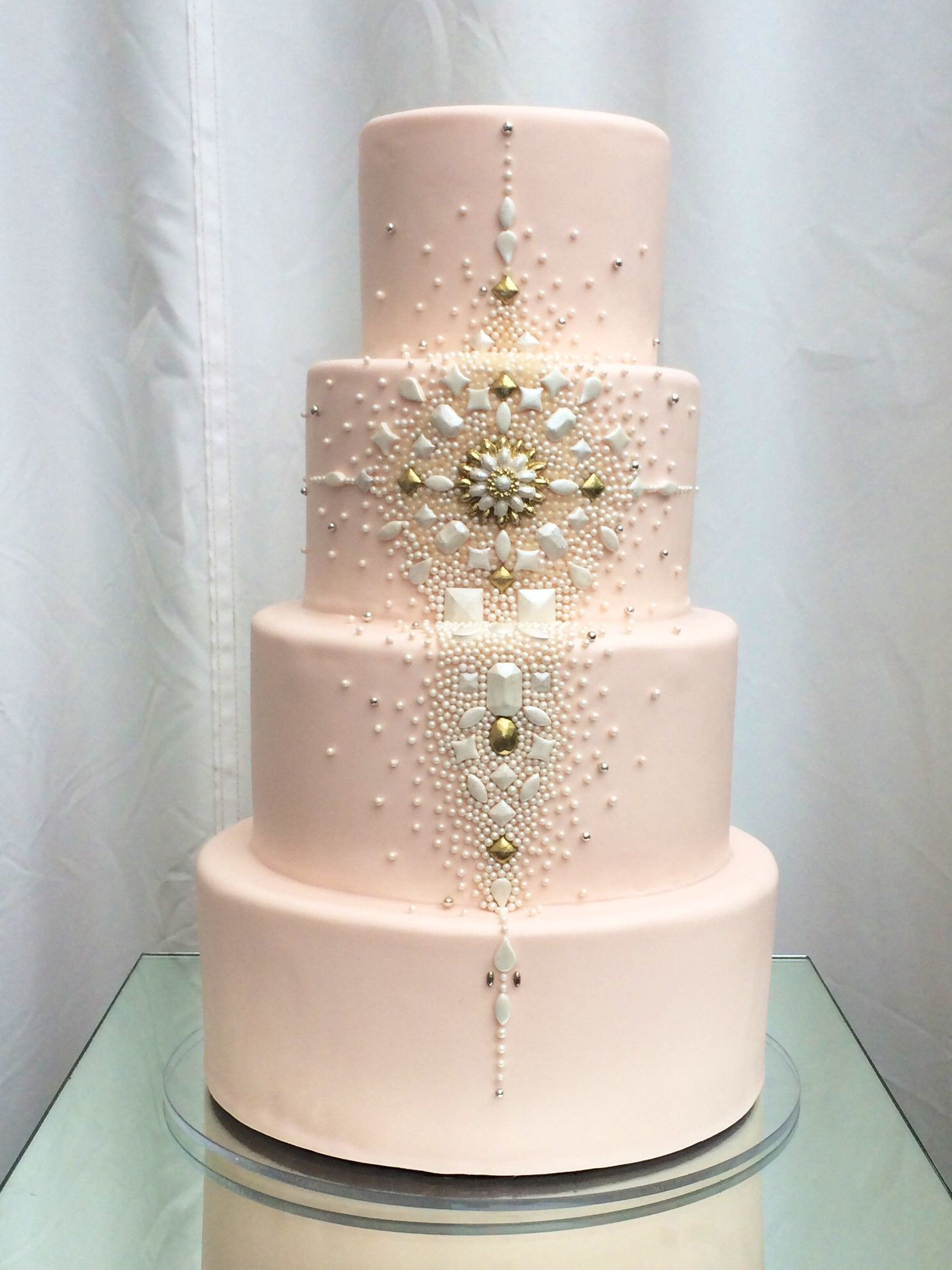 Superfine Bakery S Blingfest On Cake All Sugar Jewels Adorn This Blush For 100 At The Huntley Rooftop In Santa Monica