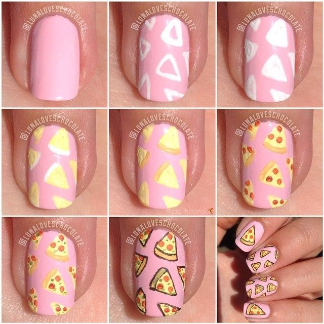 How to: Pizza nails Art Tutorial | nail art | Pinterest | Art ...