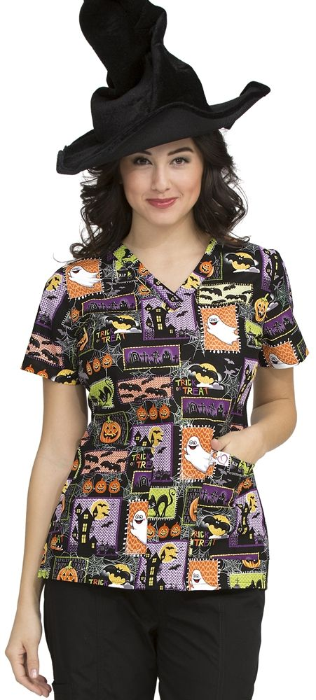 scrubs peaches cotton fright night anna scrub top halloween nursing srubs medical uniforms - Halloween Scrubs Uniforms