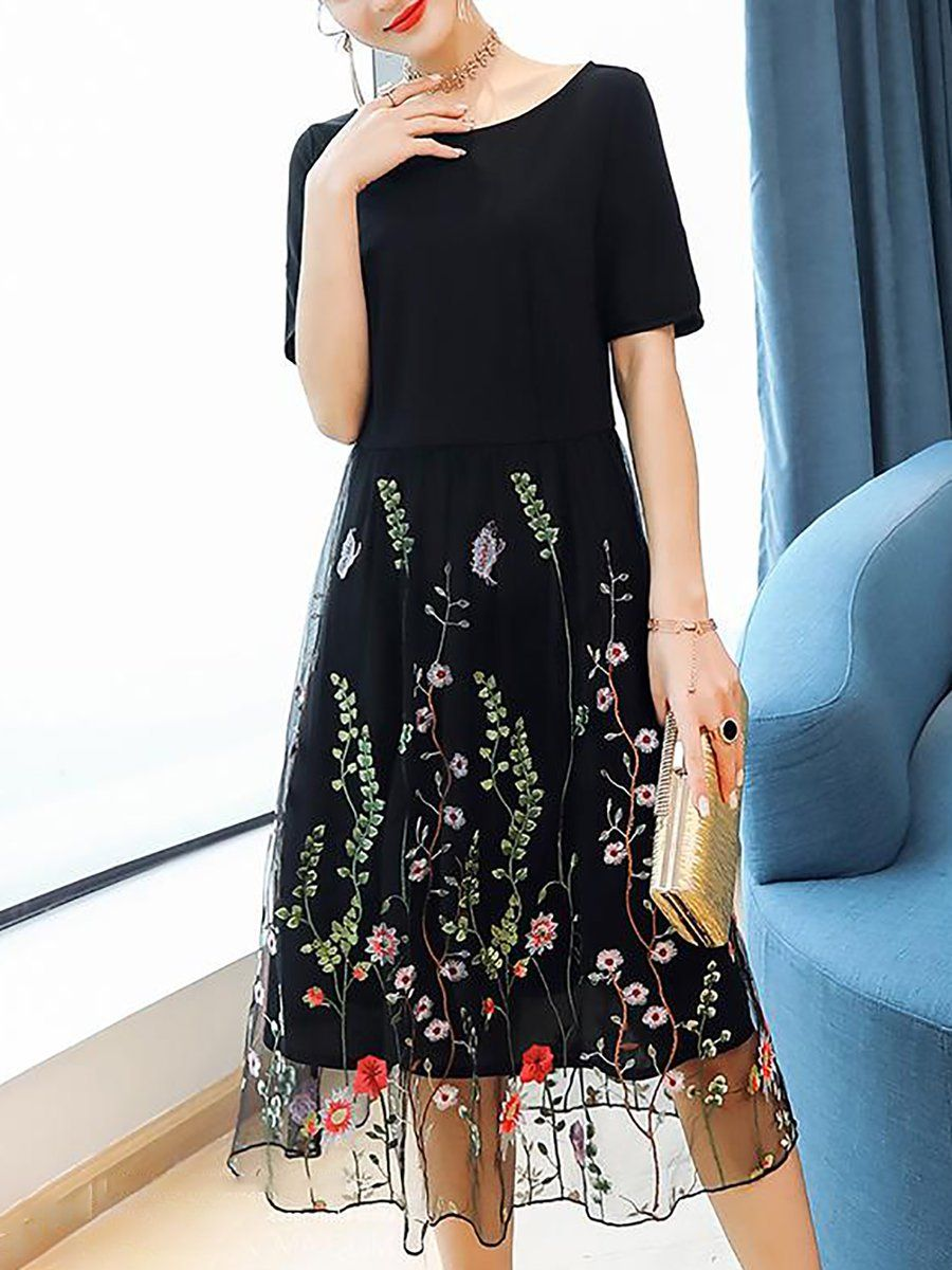 dfbf88c50d Stylewe Plus Size Black Crew Neck A-line Date Dress Short Sleeve Casual  Embroidered Floral Dress