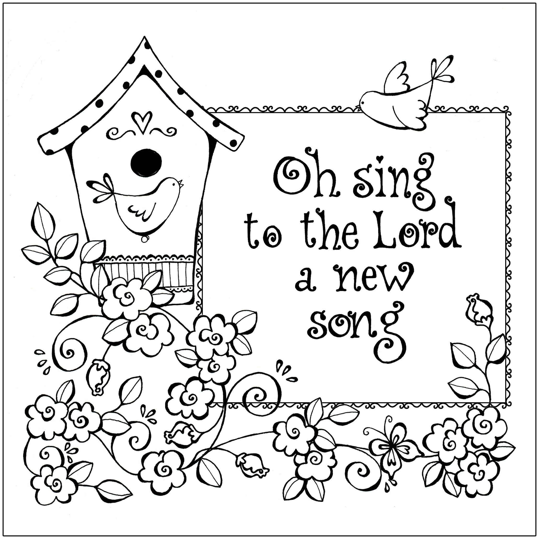 Birdhouse coloring page by karla dornacher oh sing to the lord a new song