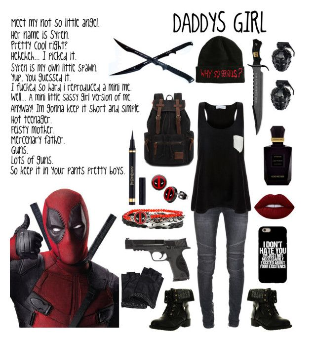 """""""DEADPOOL"""" by halloweenwoods ❤ liked on Polyvore featuring Smith & Wesson, Balmain, Solid & Striped, Karl Lagerfeld, Refresh, Lime Crime, Keiko Mecheri, Yves Saint Laurent and MollaSpace"""