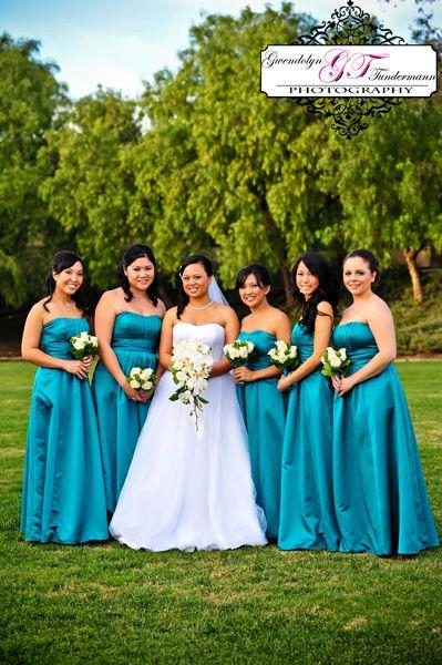 Teal or oasis bridesmaid dresses, long bridesmaid dresses ...