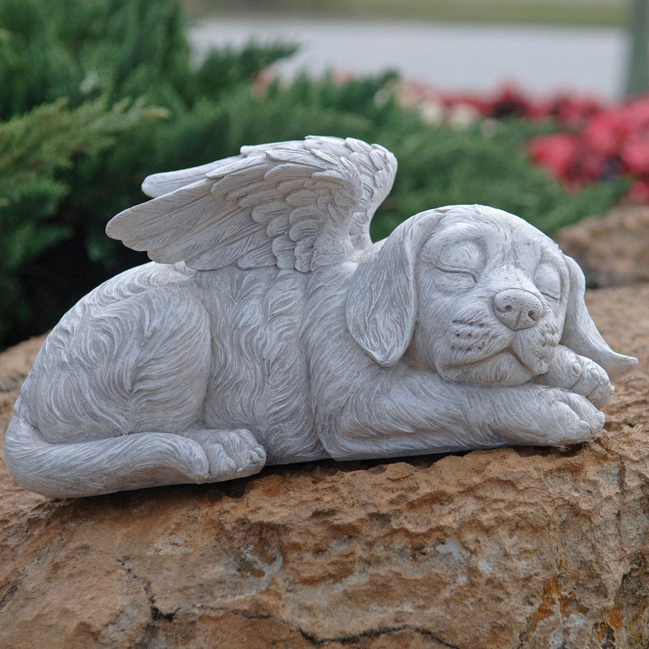 Small Angel Statues For Graves: Dog Memorial Angel Pet Statue