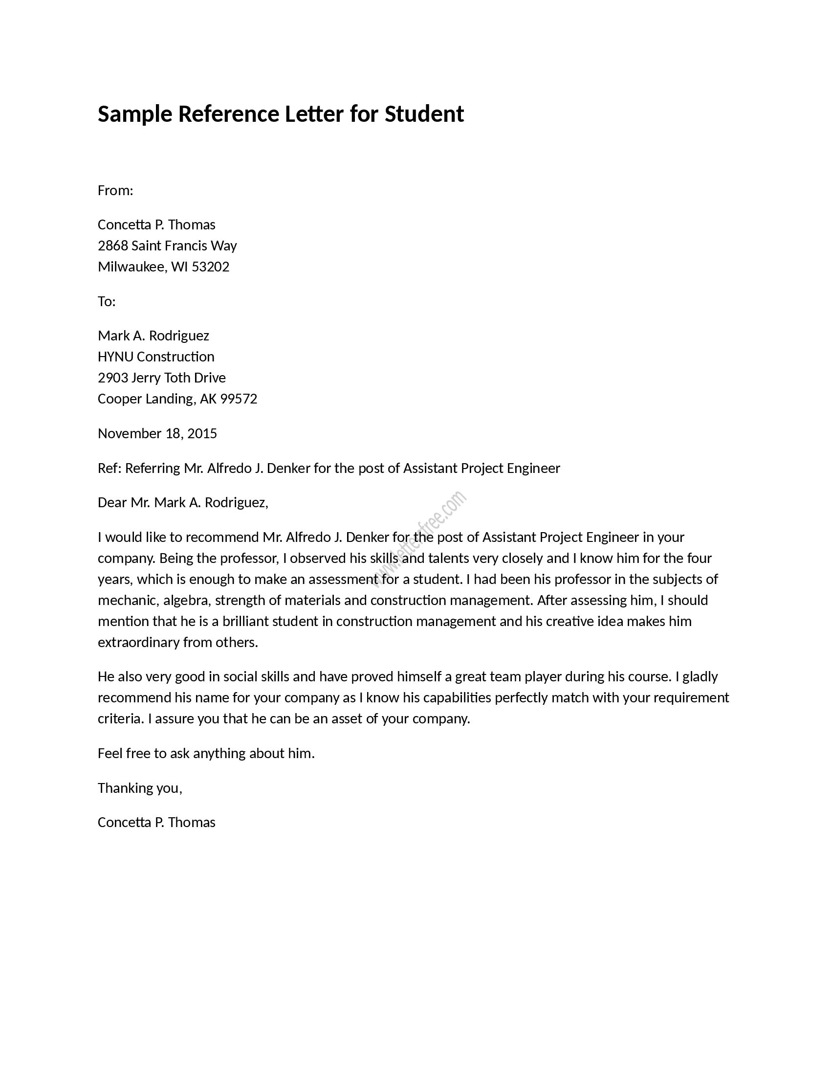 Reference Letter for Student Reference letter for