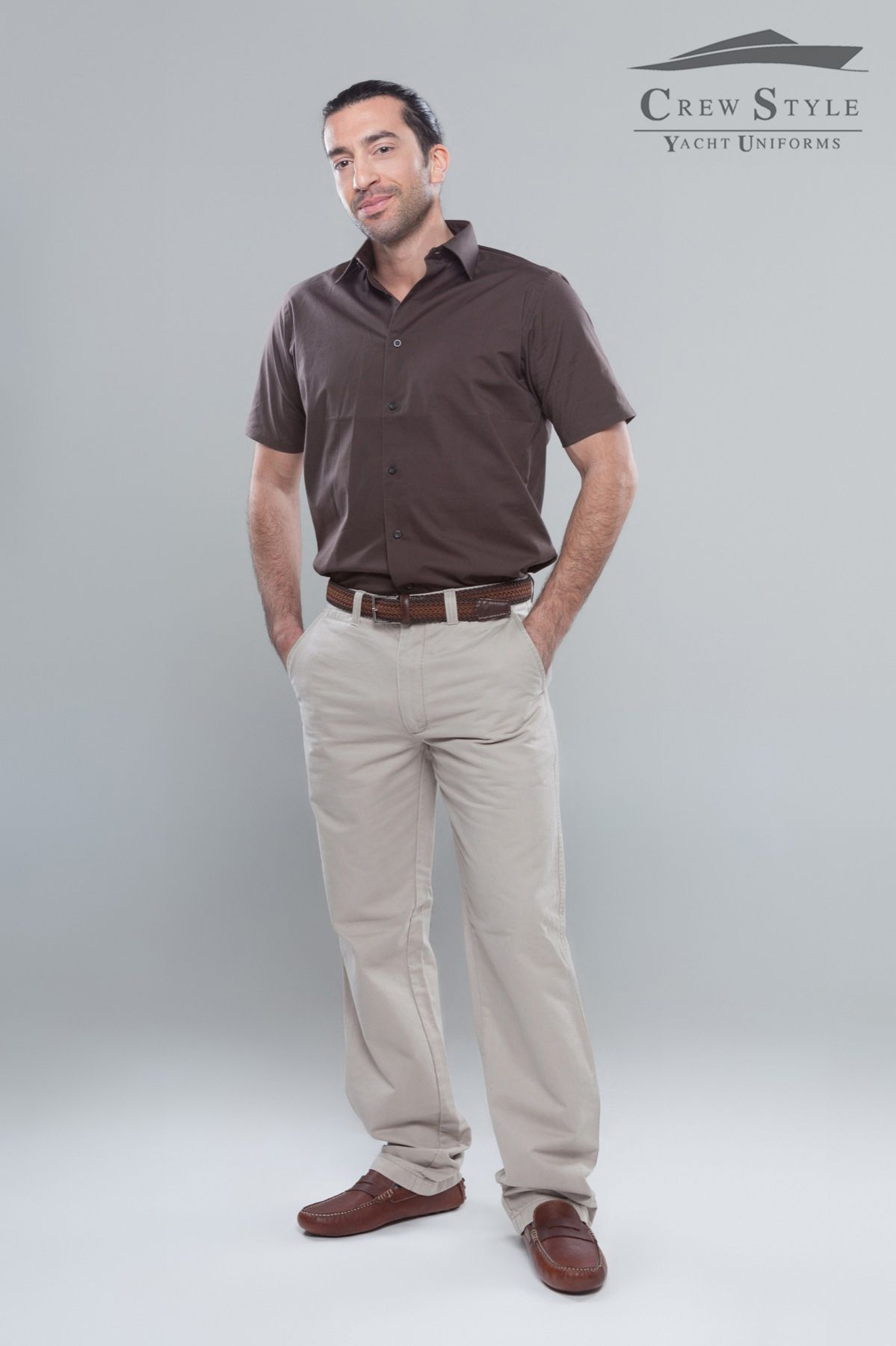 Beige and brown formal outfit formal wear yacht uniforms short