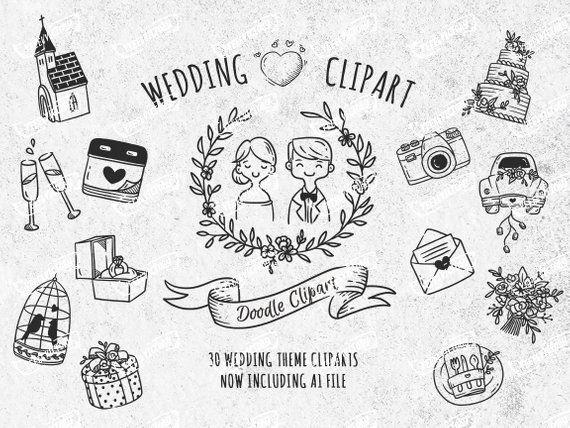 c102d59b55bcf7 Doodle Wedding Clip Art