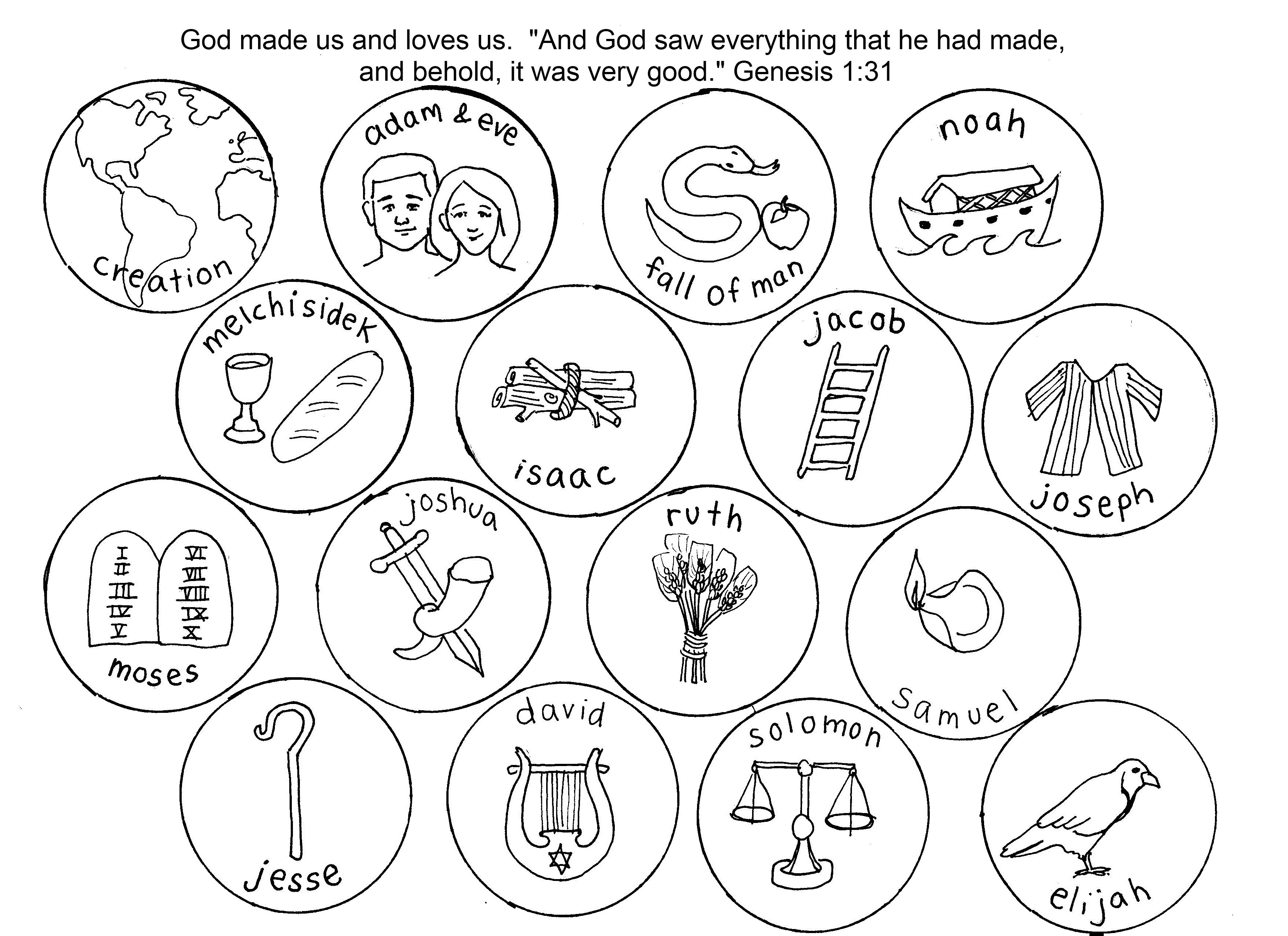 Beautiful Jesse Tree Symbols Sketch Coloring Page