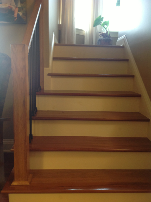Best Brazilian Cherry Stairs With Wrought Iron Rails To Landing 400 x 300