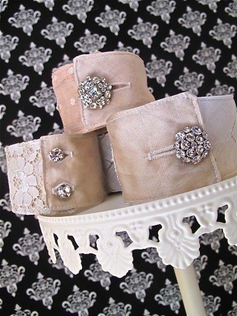 Wedding wristie cuff bracelets, vintage linens, silks, crystals, buttons, pearls
