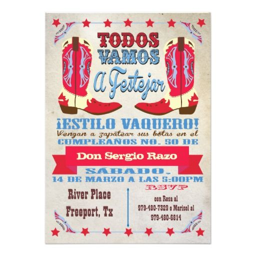 Cowboy Western Birthday Party In Spanish Custom Announcements