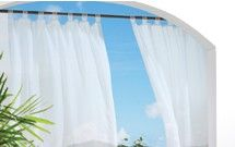 Escape Solid Indoor Outdoor Treated Voile Velcro Tab Top Curtain