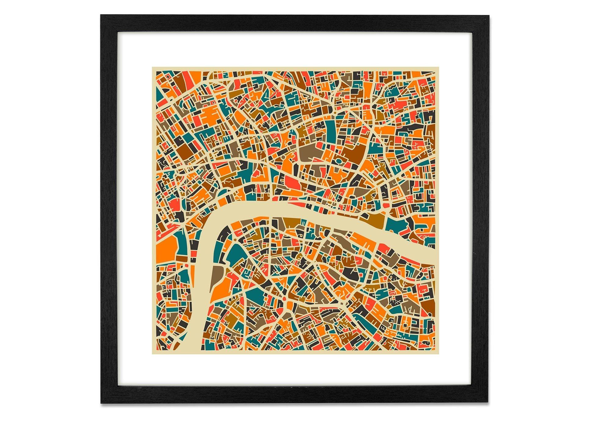 London Map von Jazzberry Blue, 50 x 50cm Gerahmte Kunstdrucke - MADE ...