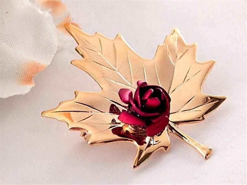 Fall Leaf Brooch Gold Metal Red Rose Pin Costume Jewelry Fashion Accessory #Unbranded
