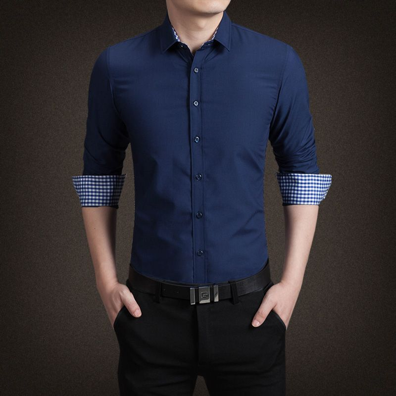 >> Click to Buy << TG6195 Cheap wholesale 2017 new Cultivate one's morality men long sleeve shirt, pure color shirt leisure fashion business attire #Affiliate