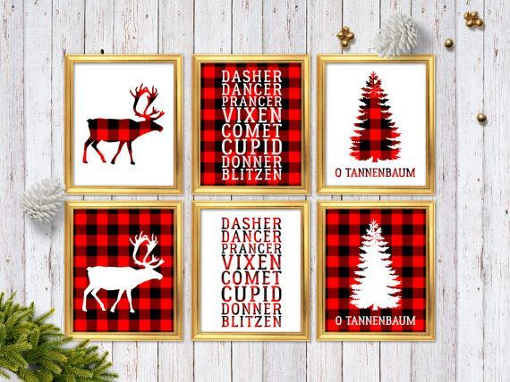 Buffalo Plaid Christmas Wall Art Prints   Red Plaid Christmas Decor   Set  Of 6 Mix