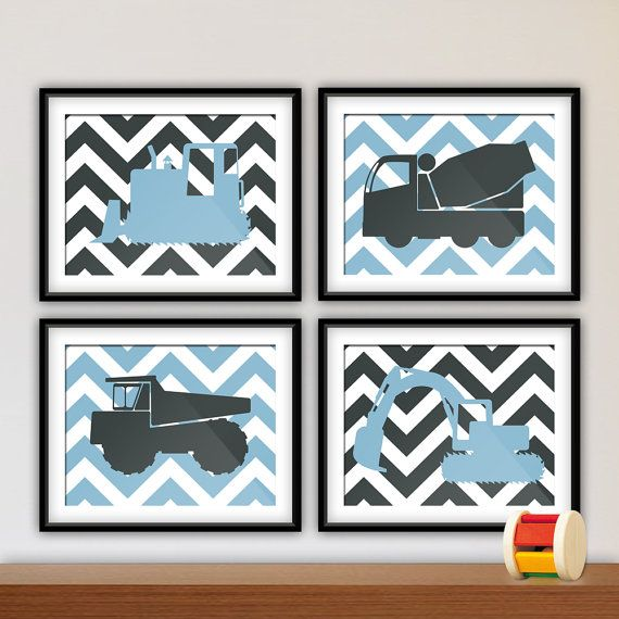 """Baby Boy Nursery Wall Art Prints, Young Boys Bedroom, Construction Trucks, Chevron Background, Avail is part of Young Boys bedroom - Vroom Vroom    Beep Beep! Make way for these adorable trucks! What fun bedroom wall decor for the new baby or young boy in your life! This set of four art prints is available in your choice of colors, just let us know how you'd like it  DETAILS This is a set of four 10x8 inch prints available in your choice of colors  Two professional grade photographic paper options are available, a matte finish with a fine grain pebble texture or a pearlescent finish featuring a smooth, satiny gloss  Both allow for rich, vibrant color that won't fade or yellow, providing you with beautiful prints that will last for years to come  (Frames and matting are not included )HOW TO ORDER1  Select from the available options 2  If selecting custom colors, specify colors in the """"Notes to Seller"""" field during checkout  Please specify color(s) for the construction vehicles and for the background If there is any discrepancy with your order, we will contact you before processing SHIPPINGAll artwork is printed to order within 12 business days, and then promptly shipped  Domestic shipments will be safely and securely packaged and shipped USPS First Class  Prints larger than 8x10 ship USPS Priority Mail  Your order should arrive within 210 business days  Expedited shipping is available upon request"""