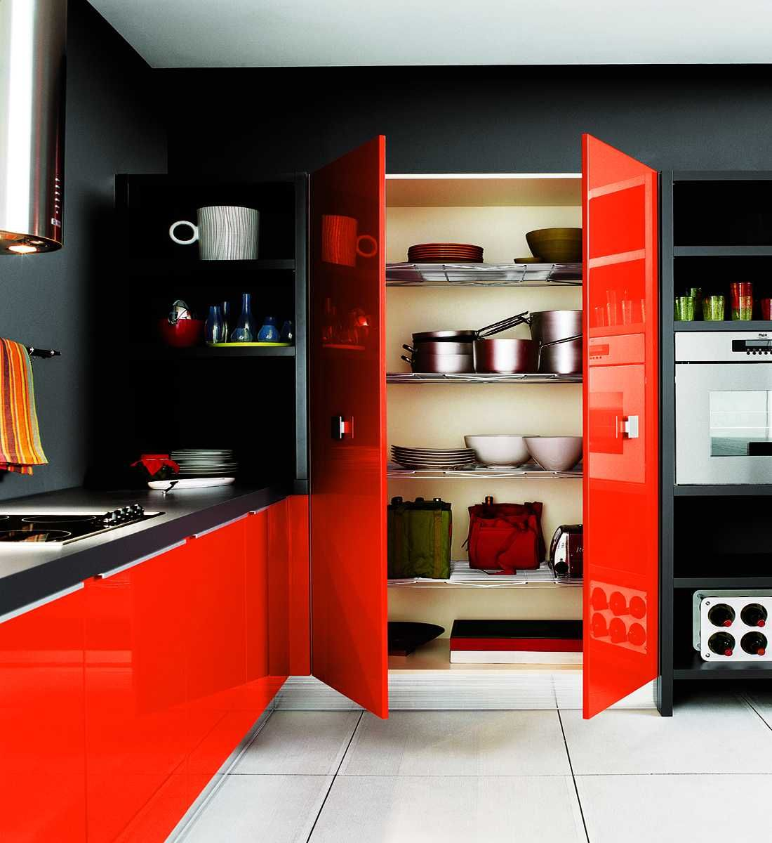 Red And Gold Kitchen Ideas Part - 27: Kitchen-with-black-walls-and-red-furniture