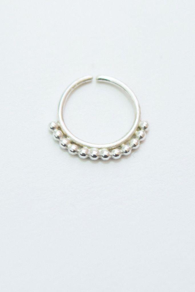 Sterling Silver Beaded Nose Ring /Cartilage Hoop