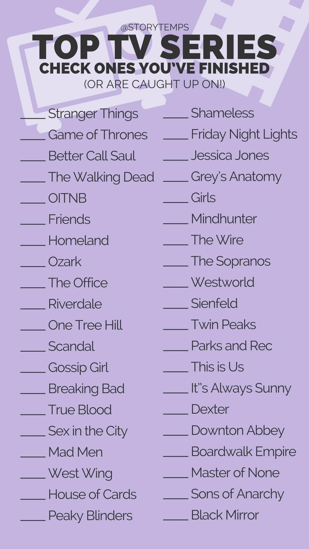 Tv Show Check List Storytemps Storytemplates Storygames House Wiring Quiz Instagram Facebook