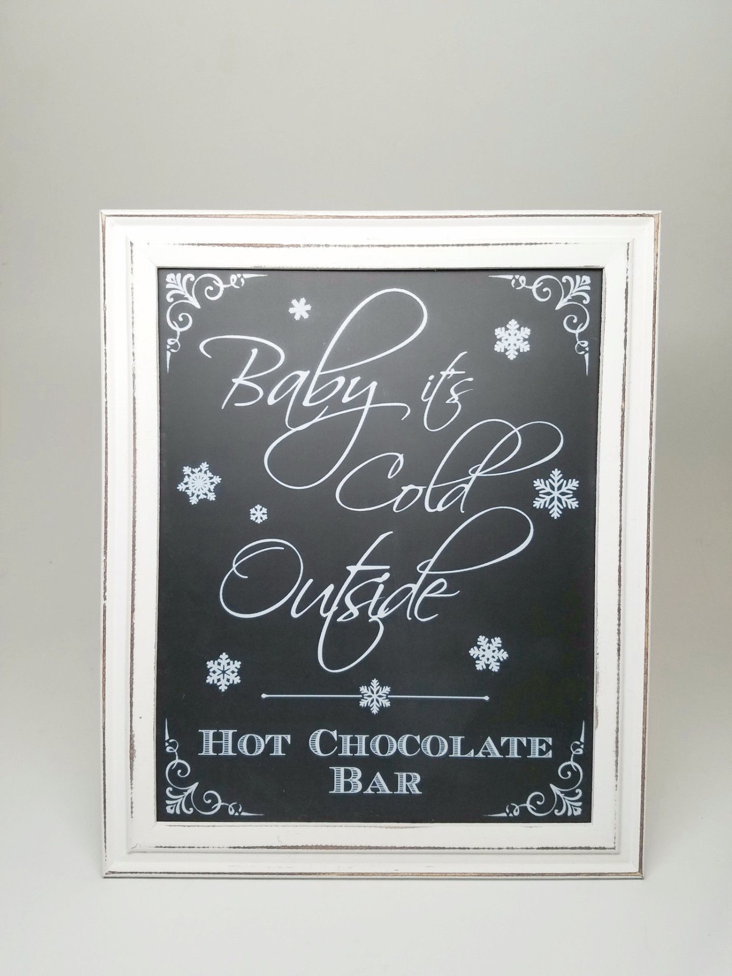 Hot Chocolate Bar Sign for Wedding - Baby It\'s Cold Outside - Framed ...