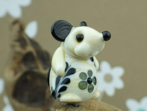Mademoiselle Clarice......... lampwork mouse by DeniseAnnette, $17.00