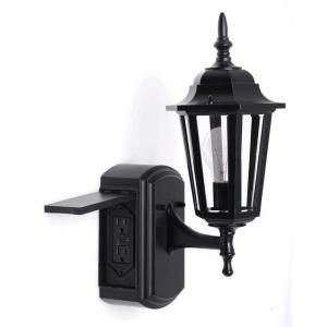 exterior wall lantern with built in electrical outlet. hampton bay, coach style reversible exterior wall lantern with built-in electrical outlet ( built in \