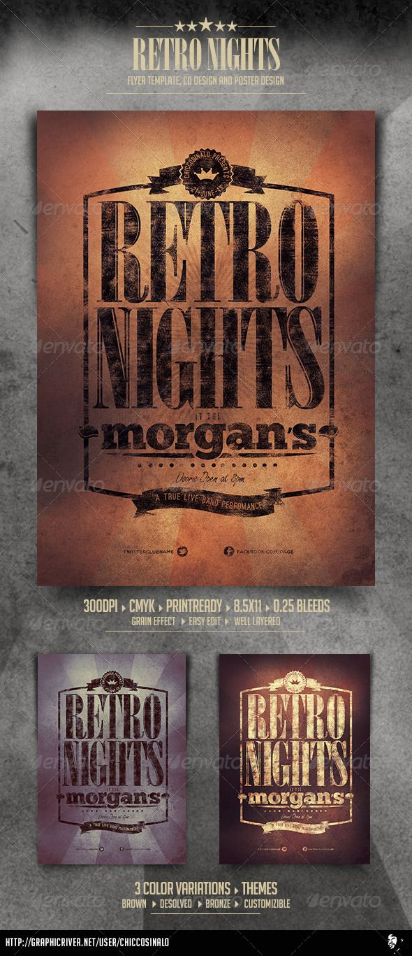 Retro Nights Flyer Template  Flyer Template Template And Retro