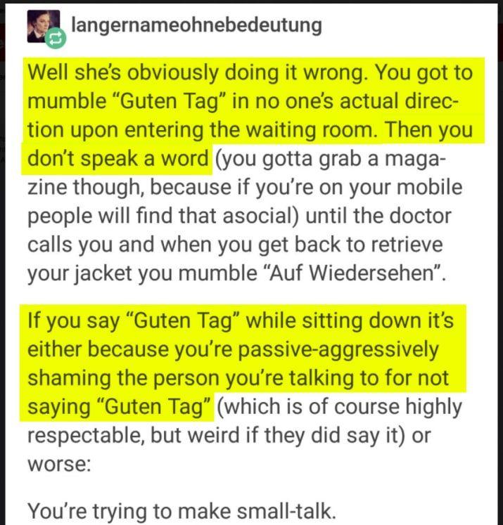 Dieser Tumblr-Post erklärt so perfekt, wie wir Deutschen in der Öffentlichkeit kommunizieren — nämlich möglichst wenig