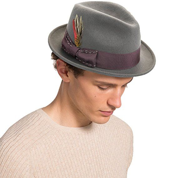 65ee1d21d01200 Janetshats Fedora Hat For Men Wool Felt Hat Stain-Resistant Crushable Trilby  Handmade Stitching Bowknot Feather 57 cm Size