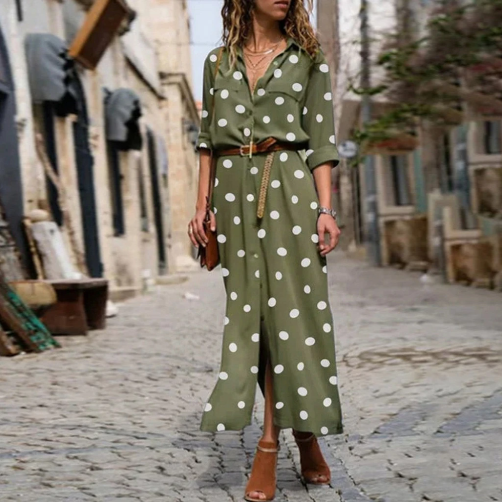 Women Summer Dot Print Long Sleeve Button Long Dress Party Beach Dress Vintage Polka Dot Women S Dresses Sukienki Damskie 40 Daily Dress Maxi Shirt Dress Maxi Dress [ 1000 x 1000 Pixel ]