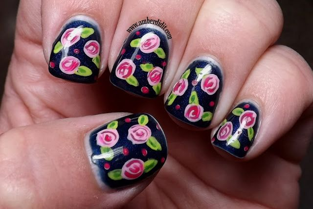 Amber did it!: Gel Color by OPI Russian Navy with Flower Nail Art.
