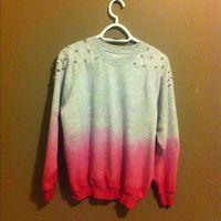 studded dip dye sweater sweatshirt vintage hipster fashion studs