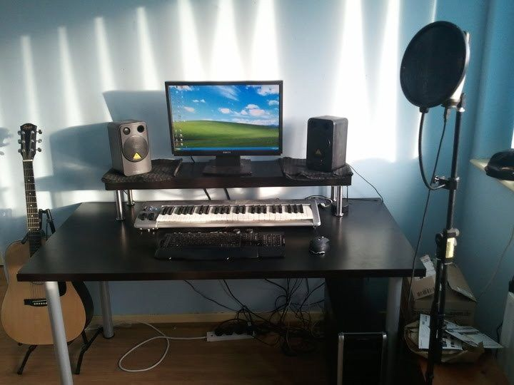 I Was Blessed Enough To Receive A Mini Studio Setup And Hacked New All Black Ikea Music Desk Match