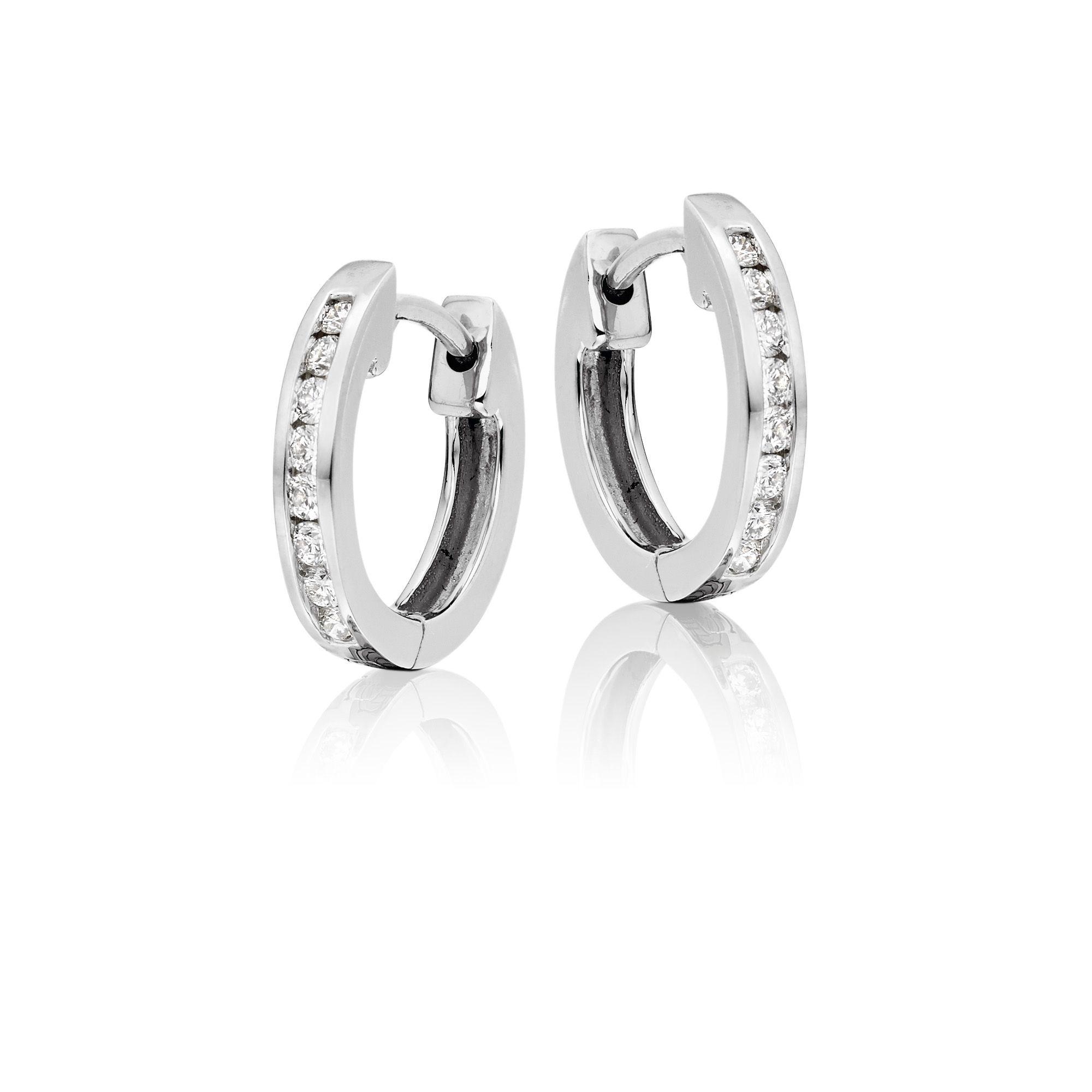 Diamond Hoop Earrings 0.25ct Channel Diamond Hoops 9K