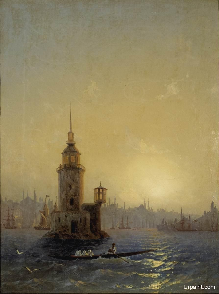 Constantinople Art : constantinople, Leandrovsk, Tower, Constantinople, Seascape,, Artwork, Painting