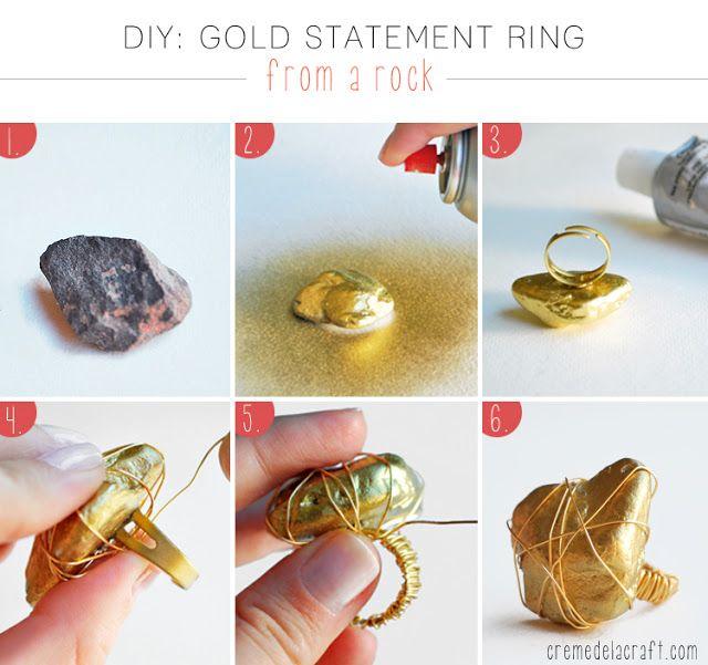 Como hacer un anillo dorado con una piedra y alambre de for Como hacer color piedra
