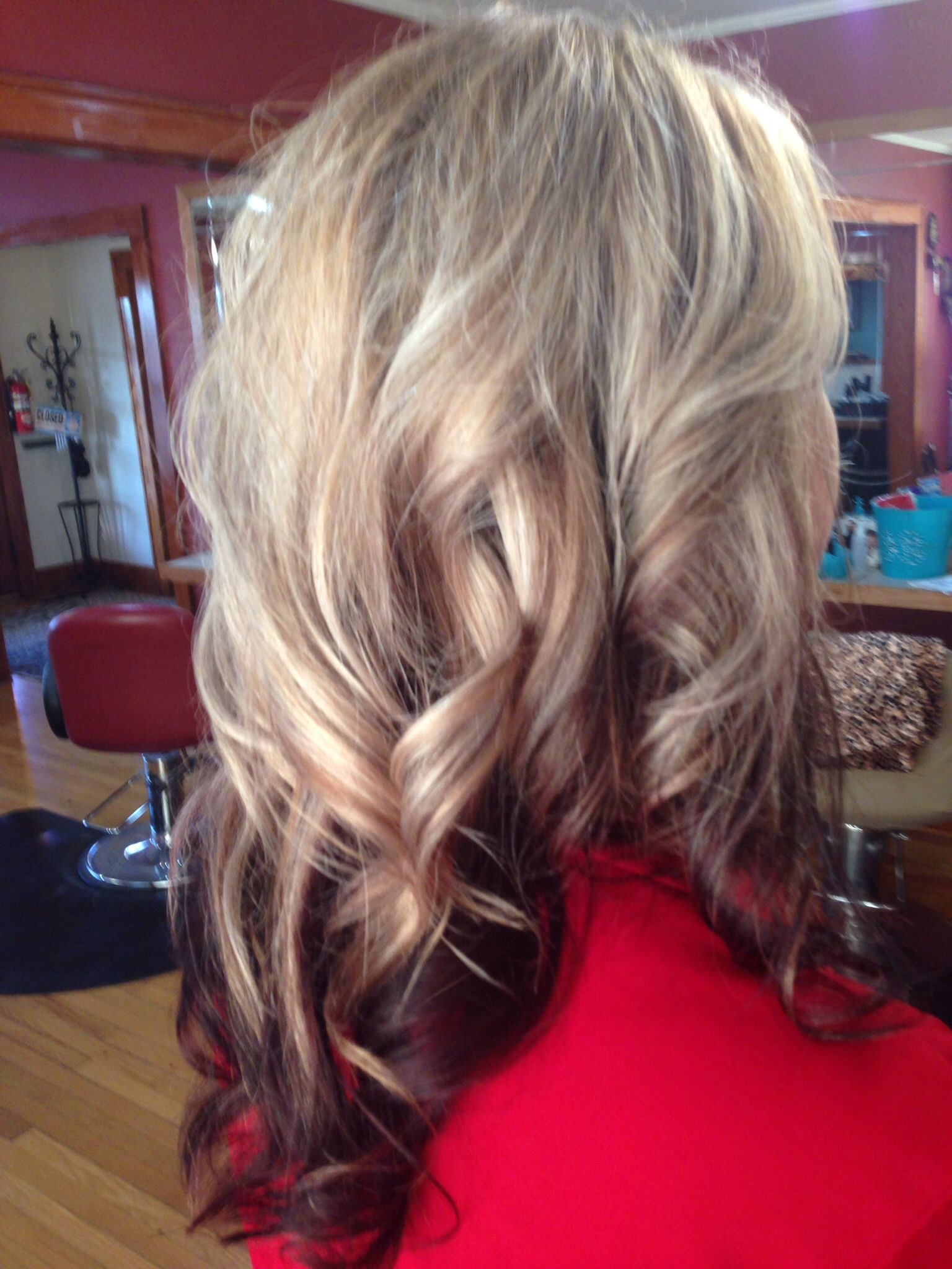 Platinum blonde with chocolate lowlights and burgundy ...