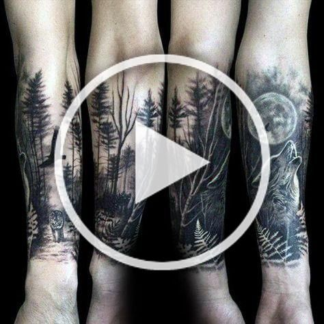 Wolf Howling At The Moon Male Forest Tattoo Sleeve On Forearms Ultracooltattoos In 2020