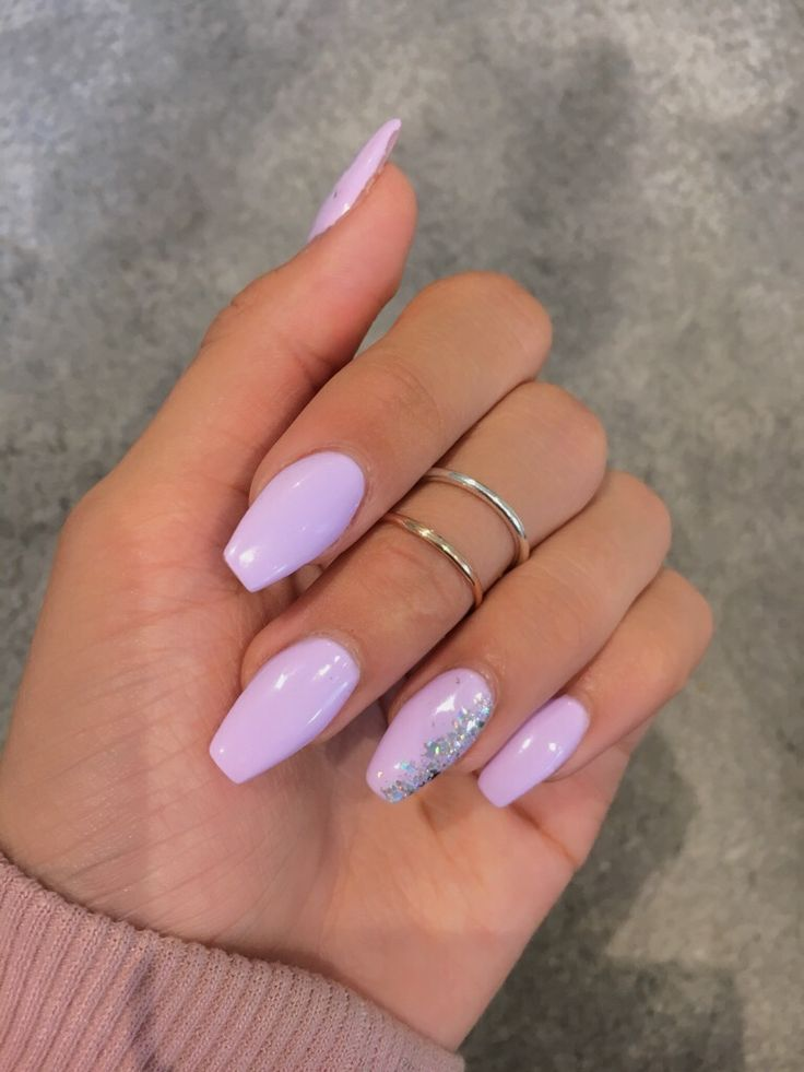 Lilac Acrylic Coffin Shaped Nails With Holographic Accents Purple Acrylic Nails Lilac Nails Coffin Shape Nails