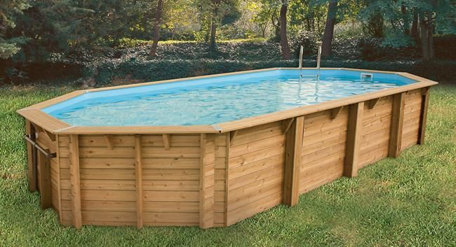Piscine hors-sol bois OCEA octogonale 860x470xH130 beige Ubbink - amenagement autour piscine hors sol