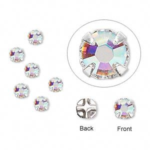 Bead, Swarovski® crystals and silver-plated pewter (tin-based alloy), crystal AB, 3.8-4mm rose montées with 0.75-0.85mm hole (53102), SS16. Sold per pkg of 24.