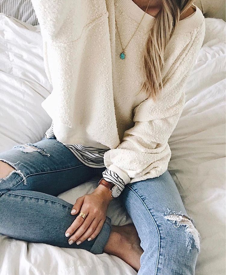 I really like the texture and soft white color of this sweater. I also love  this watch b98b26f81