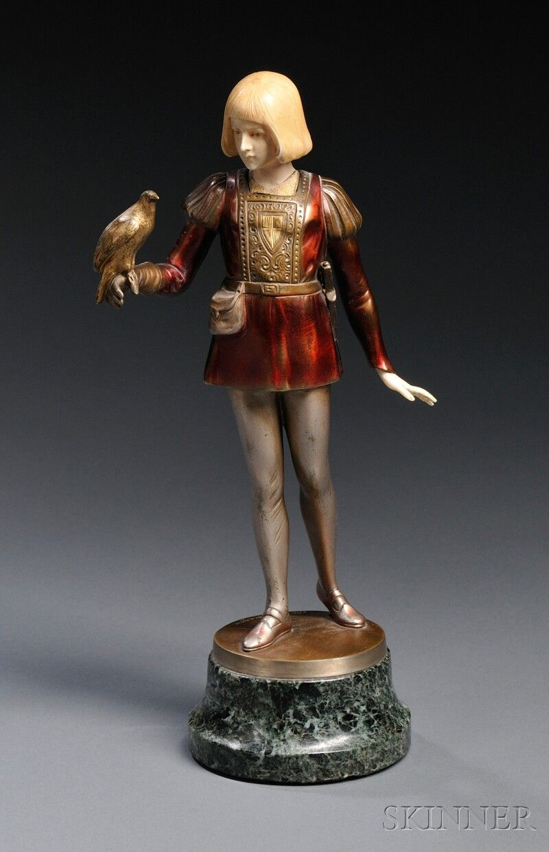 After Gotthilf Jaeger (German, 1871-1933)       Cold-painted Bronze and Ivory Figure of a Young Falconer
