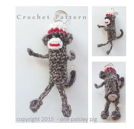 Sock Monkey Lip Balm Holder - PDF CROCHET PATTERN for Tube Style ...
